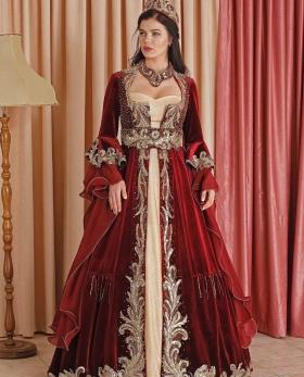Square Collar Style Burgundy Henna Kaftan Enb-124